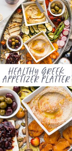 This healthy Greek appetizer platter is perfect for summer entertaining, loaded with healthy make-ahead appetizers. One of my favorite healthy appetizers! My healthy Greek appetizer platter includes M Greek Appetizers, Make Ahead Appetizers, Healthy Appetizers, Appetizer Recipes, Healthy Snacks, Healthy Life, Healthy Recipes On A Budget, Healthy Salad Recipes, Clean Eating Recipes