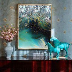 现代简约抽象装饰画美式客厅油画卧室玄关过道壁挂画沙发背景墙画