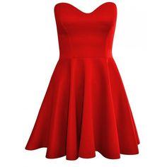 Forever Womens Sleeveless Plain Strapless Bandeau Padded Boobtube... (325 MXN) ❤ liked on Polyvore featuring dresses, red strapless dress, no sleeve dress, skater dress, red dress and bandeau skater dress