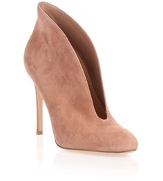 Dark nude suede cut-out Vamp bootie from Gianvito Rossi. The Vamp bootie has a 105mm covered stiletto heel, an almond-shaped toe, and a leather sole. True to sizeLeather soleMade in ItalyDesigner colour: Praline