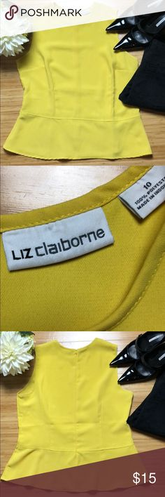 """☀️ Liz Claiborne Sunny Peplum Blouse 10 ☀️ Size 10 Sunny Semi Sheer Yellow Liz Claiborne Peplum Blouse. 23"""" from neck to hem, 20"""" across chest. In excellent condition from non-smoking home. Liz Claiborne Tops Blouses"""