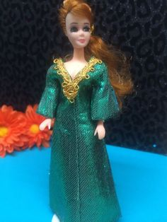 OOAK topper Dawn doll outfit Domino silk and vintage rayon