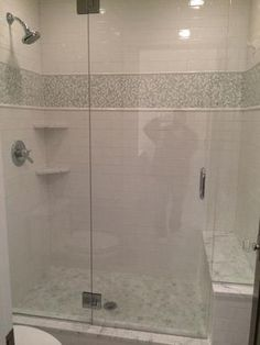 White tones of glass tile and black tile accents - Google Search