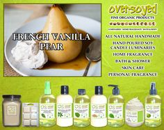 French Vanilla Pear Product Collection - The scrumptious aroma of freshly whipped vanilla cream blended with juicy bartlett pear picked at the peak of ripeness. #OverSoyed #FrenchVanillaPear #ExoticFruits #Exotic #Fruity #Fruit #Candles #HomeFragrance #BathandBody #Beauty