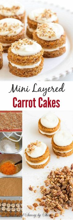 Adorable mini carrot cakes filled with classic cream cheese frosting and studded with crunchy candied pecans! It's the only way to eat carrot cake! desserts, Mini Carrot Cakes with Candied Pecans Mini Desserts, Brownie Desserts, Oreo Dessert, Dessert Platter, Mini Carrot Cake, Carrot Cakes, Mini Cakes, Cupcake Cakes, Fondant Cakes