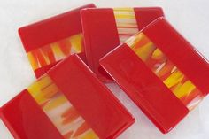 FUSED GLASS COASTERS - Red Fiesta Stripe Fused Glass Coasters - Set of 4
