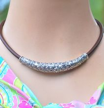 Handmade Thai Sterling Silver Floral Bead and Leather Necklace