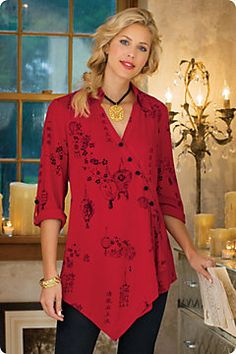 Pagoda Shirt - Red Blouse, Soft Surroundings: Special Offer - Shop Discounted Accessories at Softsurroundings. Collection Eid, Chinese Prints, Mode Chic, Red Blouses, Fashion Over 50, Plus Size Women, Printed Shirts, Tunic Tops, Red Tunic