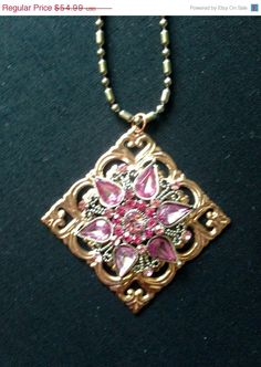 25% OFF Sale Vintage Rose Pink Rhinestone by ClevelandFinds