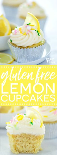 Gluten Free Lemon Cupcakes with Cream Cheese Frosting - these are full of lemon flavor with the perfect cake texture! There's also an easy dairy free option. Recipe from @whattheforkblog | whattheforkfoodblog | gluten free cupcakes | gluten free desserts