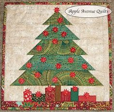 Christmas tree and presents quilt block instructions