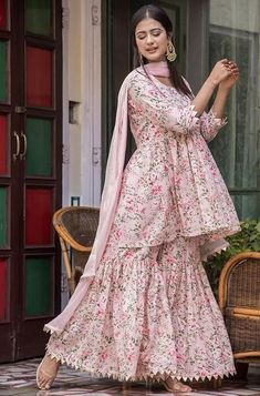 Rose pink sharara kameez with dupatta. Fabric: CottonWork: PrintedMatching bottom and dupatta comes with this. Frock Fashion, Indian Fashion Dresses, Dress Indian Style, Indian Designer Outfits, Girls Dresses Sewing, Stylish Dresses For Girls, Stylish Dress Designs, Casual Dresses, Simple Pakistani Dresses