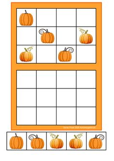 Laminate and cut out the tiles. You can add hook and loop tape. Let the student copy the way the pictures are placed in the upper frame. By Autismespektrum Theme Halloween, Halloween News, Halloween Crafts For Kids, Halloween 2020, Math For Kids, Diy For Kids, Room On The Broom, Bricolage Halloween, Autumn Activities