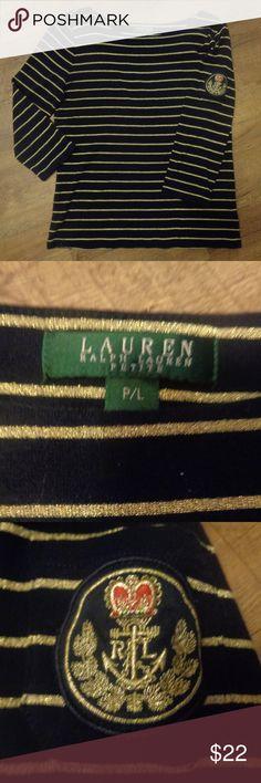 Ralph Lauren Metallic Striped, Embroidered Pocket black and gold  90% cotton 6% polyester 4% metallic  petite large Ralph Lauren Tops