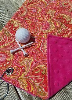 Golf Towel, Ladies Golf Towel, Pink Golf Towel, Orange Golf Towel, Womens Golf