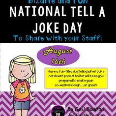 Have a fun-filled day telling jokes! Joke cards with pocket holder will keep you prepared to make your co-workers laugh…or groan!
