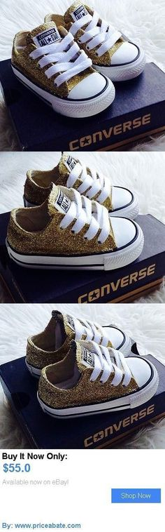 Baby Girls Shoes: Baby Toddler Custom Gold Glitter Handmade Converse Shoes BUY IT NOW ONLY: $55.0 #priceabateBabyGirlsShoes OR #priceabate #GlitterClothes #babyclothesnike