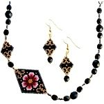 ThreadABead Asymmetric Striking Flower Necklace and Earring Set