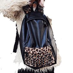 Women's Vintage Trendy Leopard Rivet Backpack