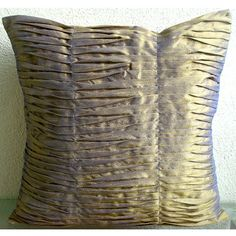 Two Tone Waves- Throw Pillow Covers - 16x16 Inches Silk Pillow Cover with Pintucks