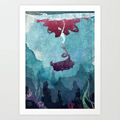 Mermaid Art Print by Serena Rocca - $18.00