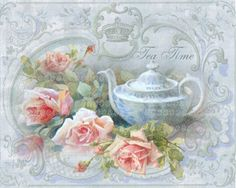 decoupage papel baby blue teapot and roses. Decoupage Vintage, Vintage Diy, Vintage Labels, Vintage Paper, Vintage Images, Couleur Rose Pastel, Creation Photo, Tea Art, Vintage Greeting Cards