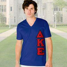 Delta Kappa Epsilon V-Neck T-Shirt - Vertical - American Apparel 2456 - TWILL