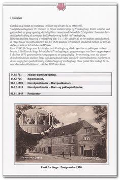 Dansk Posthistorisk Selskab - Samlinger - Hjemstavnsamling for Stege. Postkort med Postgården i 1910.