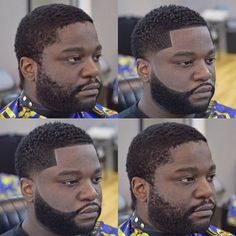 Short side fade with beard blackout before and after haircut. Black Man Haircut Fade, Fade Haircut With Beard, Black Hair Cuts, Beard Haircut, Beard Fade, Black Men Haircuts, Short Hair Cuts, Haircut Short, Beard Styles For Men