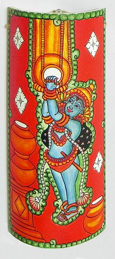 Makhan Chor Krishna - Wall Hanging (Mural Painting on Bamboo))
