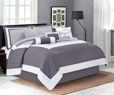 http://www.kitchendecorationidea.com/category/Queen-Comforter-Set/ Hotel Gray…