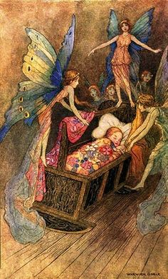 """Warwick Goble ~ Fairies at the Cradle  """"And sweetly singing round about thy bed, Strew all their blessings on thy sleeping head.""""   Illustration for Good Luck Befriend Thee by John Milton     The quote comes from Artsy Craftsy."""