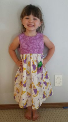 Rapunzel dress with a pascal feltie in the pocket!  :)