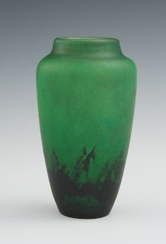 """Daum Nancy Art Glass Vase    Mottled emerald green cast glass with darker green near the base, apprx. 4-3/4""""H, with matte finish, with """"Daum Nancy France"""" impressed around the base."""