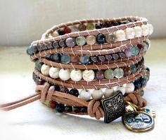 surfer boho five wraps weave braided leather bracelet for by ShySu, $70.00