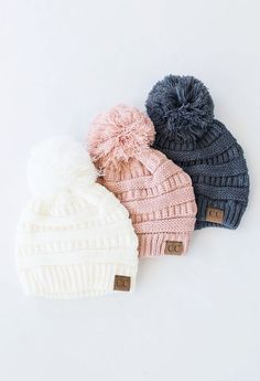 Beanies are a best seller and these Pom beanies are sure to be a customer… Beautiful wintry pompom hats Fall Winter Outfits, Winter Wear, Autumn Winter Fashion, Cute Hats, Cute Winter Hats, Winter Caps, Winter Beanies, Christmas Fashion, Beanie Hats