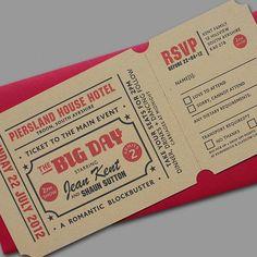 Ok, this is fantastic! cinema ticket style wedding invitations unusual invite novelty vintage 1950s wedding