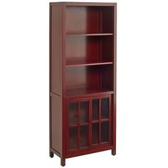 Sausalito Tall Bookcase - Antique Red Bookcase Shelves, Shelving, Bookcases, Standing Shelves, Living Room Shelves, Red Glass, Furniture Collection, Decoration, Tall Cabinet Storage
