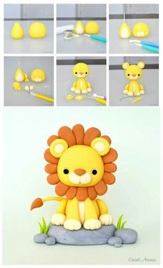 Fondant Lion Tutorial - this can be a cake or cupcake topper, depending on the size.Lion Tutorial by Crumb Avenue - For all your cake decorating supplies please vi. More info could be found at the image url. Lion Tutorial by Crumb Avenue - For all your ca Fondant Cupcakes, Fondant Cake Toppers, Cupcake Toppers, Baking Cupcakes, Decors Pate A Sucre, Lion Cakes, Jungle Cake, Jungle Theme, Jungle Safari