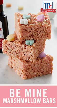 Be Mine Marshmallow Bars Valentine Desserts, Valentines Day Food, Valentine Treats, Holiday Treats, Holiday Recipes, Rice Krispy Treats Recipe, Rice Krispie Treats, Candy Recipes, Dessert Recipes
