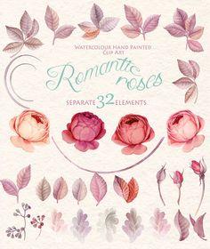 Watercolor Flower Clipart  Marsala Color Romantik rose