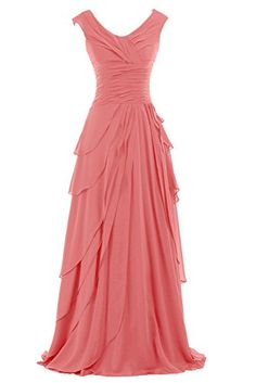 I would neec a cap sleeve on this dress and it will be perfect!  Sunvary Woman A-line Ruffled Chiffon Mother of the Bride Dresses Bridesmaid Dresses Prom Gowns for Evening Party Long US Size 2- Watermelon Sunvary http://www.amazon.com/dp/B014XJ1B3S/ref=cm_sw_r_pi_dp_F.Z9vb195806E