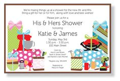 This is a good invite that doesn't have couples shower written-- rather call it his and hers!