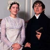Lucy Scott and David Bamber, Charlotte and Mr. Collins, Pride and Prejudice, 1995 he would be handsom if not so creepy in this movie.wonder what other parts he has done? Bbc, Darcy And Elizabeth, Elizabeth Bennett, Mr Collins, Jane Austen Movies, Becoming Jane, Mr Darcy, Movie Costumes, Period Costumes