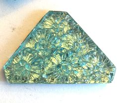 Vintage glass cabochon (1) Aqua blue  jewel carved floral flowers molded stone cab triangle flat back approx 1.5 inches (1) by a2zDesigns on Etsy Aqua Blue Color, Pretty Lights, Floral Flowers, Triangle, Jewel, Turquoise, Bling, Gem, Jewelry