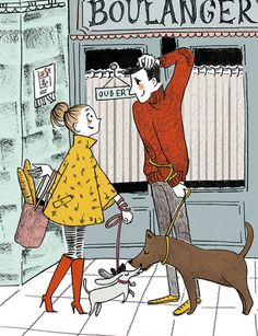 love at the bakery - idoia_illustration - Pet Fashion Pet Fashion, Bakery, Pencil, Scene, Texture, Pets, Digital, Bread, Couple