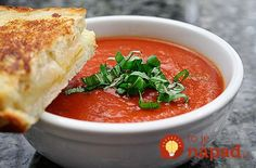 Easy Tomato Soup - Easy Tomato Soup is an old time recipe using crushed tomatos, heavy cream . Tomato soup is great as a starter or together with your favorite sandwich as a warming main course. Creamy Vegetable Soups, Creamy Tomato Basil Soup, Macedonian Food, Tomato Soup Recipes, Soup And Sandwich, Le Chef, Soup And Salad, Soups And Stews, Healthy Recipes