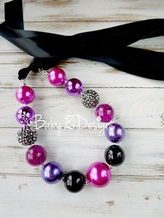 Purple Black and Fuschia Cheetah Satin Chunky Necklace by babyzdesigns, $11.99