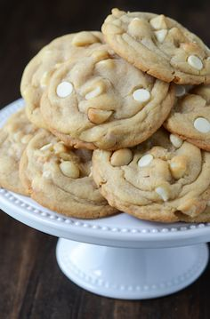 The Best White Chocolate Macadamia Nut Cookies Recipe ~ You have a perfect cookie base, with hunks of salty macadamia nuts, mixed with super sweet bites of white chocolate. It's heaven in a cookie.