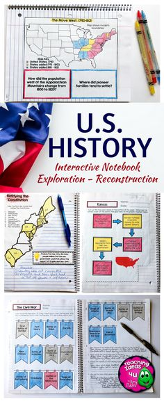 American History Interactive Notebook - Exploration through Reconstruction Bundle - Use this 300+ page resource with your 6th, 7th, 8th, or 9th grade classroom or home school students. Graphic organizers, interactive notebook materials, quizzes, and more are included. These work great as scaffolded notes too! Topics include European explorers, the Reformation, Patrick Henry, Thomas Paine, Federalism, and much more! {middle schoolers, sixth, seventh, eighth, ninth graders, U.S. History, US…